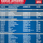 KU Basketball Printable Schedule 2018-19