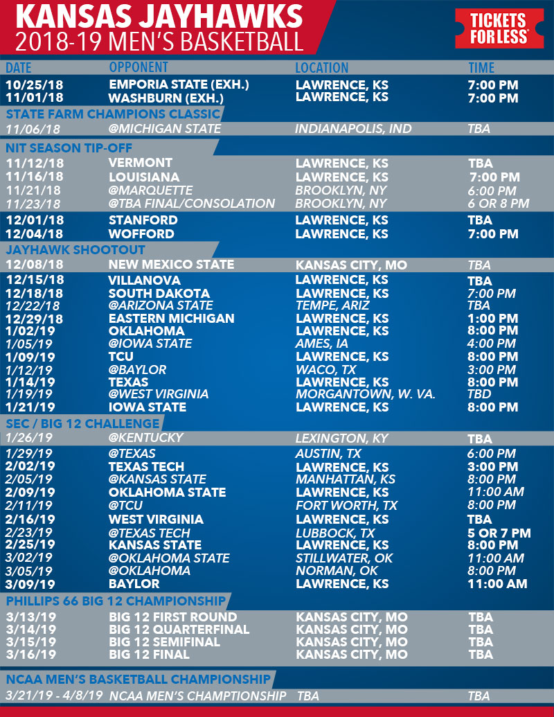 picture regarding Kc Royals Schedule Printable named Printable Routine KU Basketball Program
